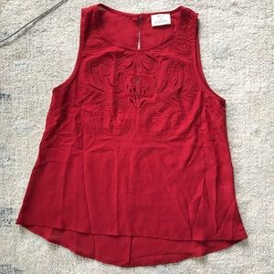 Pins & Needles Red chiffon embroidered tank